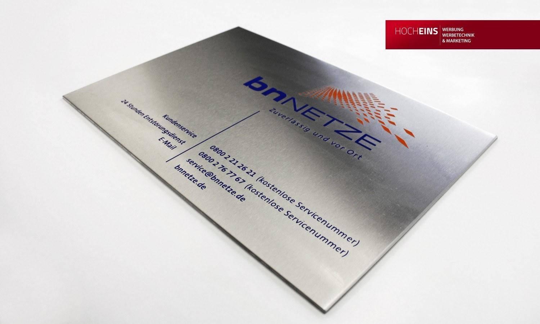 Edelstahl Firmenschild